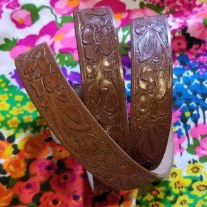 VTG Floral Tooled Brown Leather Belt